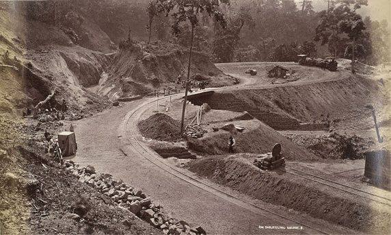 Darjeeling Hill Railway under Construction on One of the Loops of the Railway, Probably at Rangtong---1879
